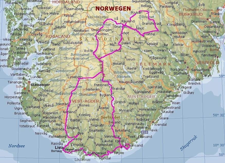 Karte Südnorwegen.Ingolf Biehusen 1002 Km Auf Dem Fahrrad Durch Suednorwegen